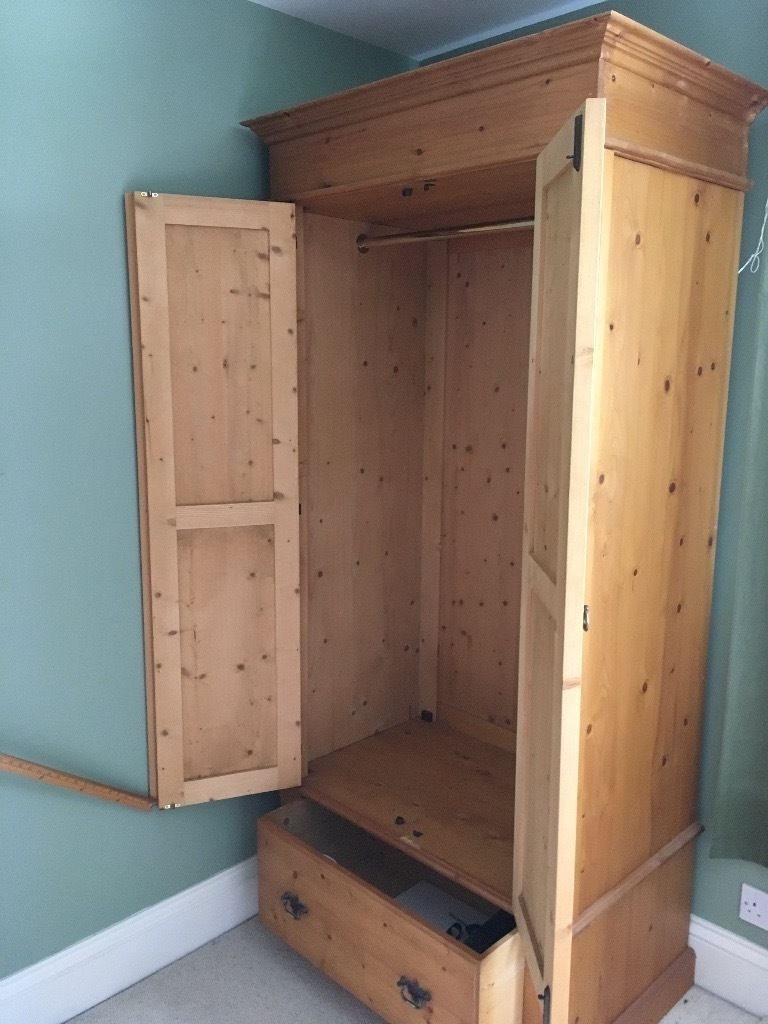 Latest Single Pine Wardrobes In Single Pine Wardrobe With Double Doors And A Bottom Drawer. (View 9 of 15)