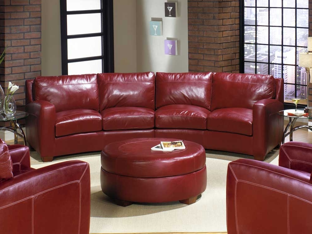 Latest Small Red Leather Sectional Sofas With Regard To Curved Sectional Sofa Ideas — Fabrizio Design : Decorating Living (View 7 of 10)