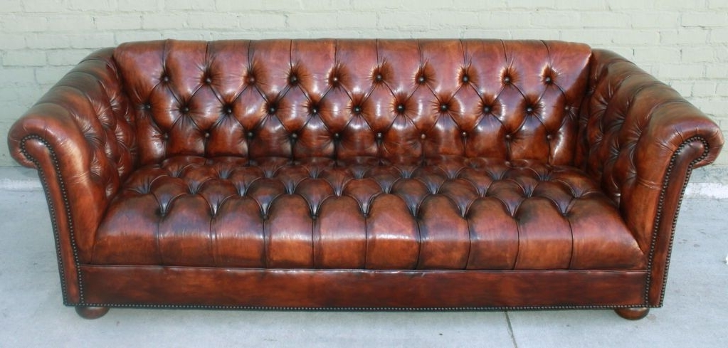 Latest Vintage Leather Tufted Chesterfield Style Sofa C (View 2 of 15)