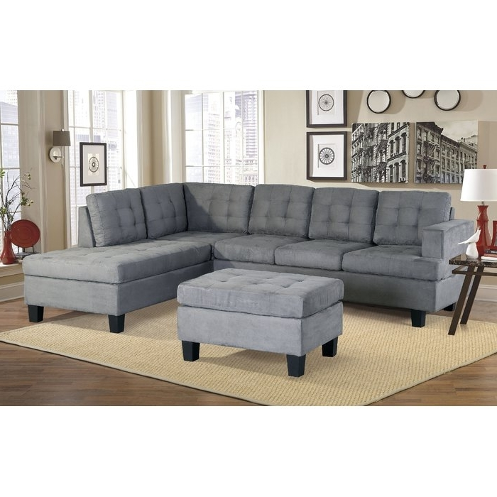 Latitude Run Sanon Leather Stationary Sectional With Ottoman In Fashionable Sectionals With Ottoman (View 9 of 10)