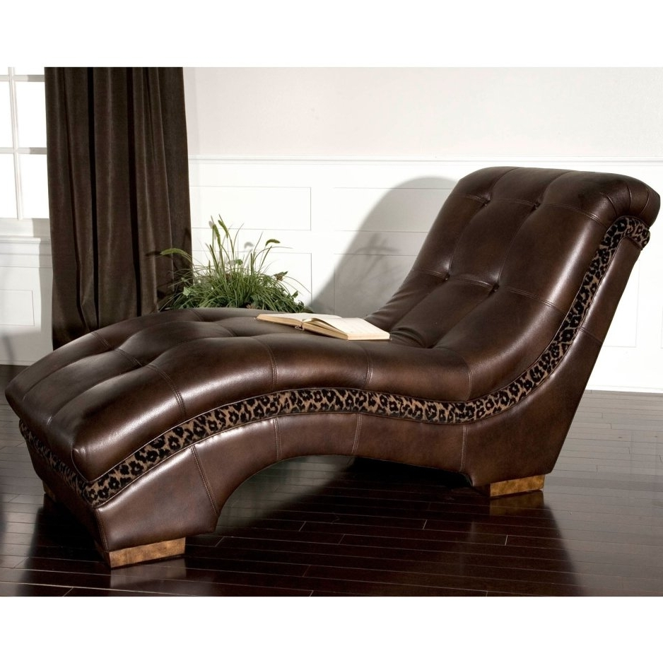 Leather Chaise Lounge Chairs Regarding Famous Gabriel Leather Chaise Lounge Chair Indoor Bonded Leather And Wood (View 7 of 15)
