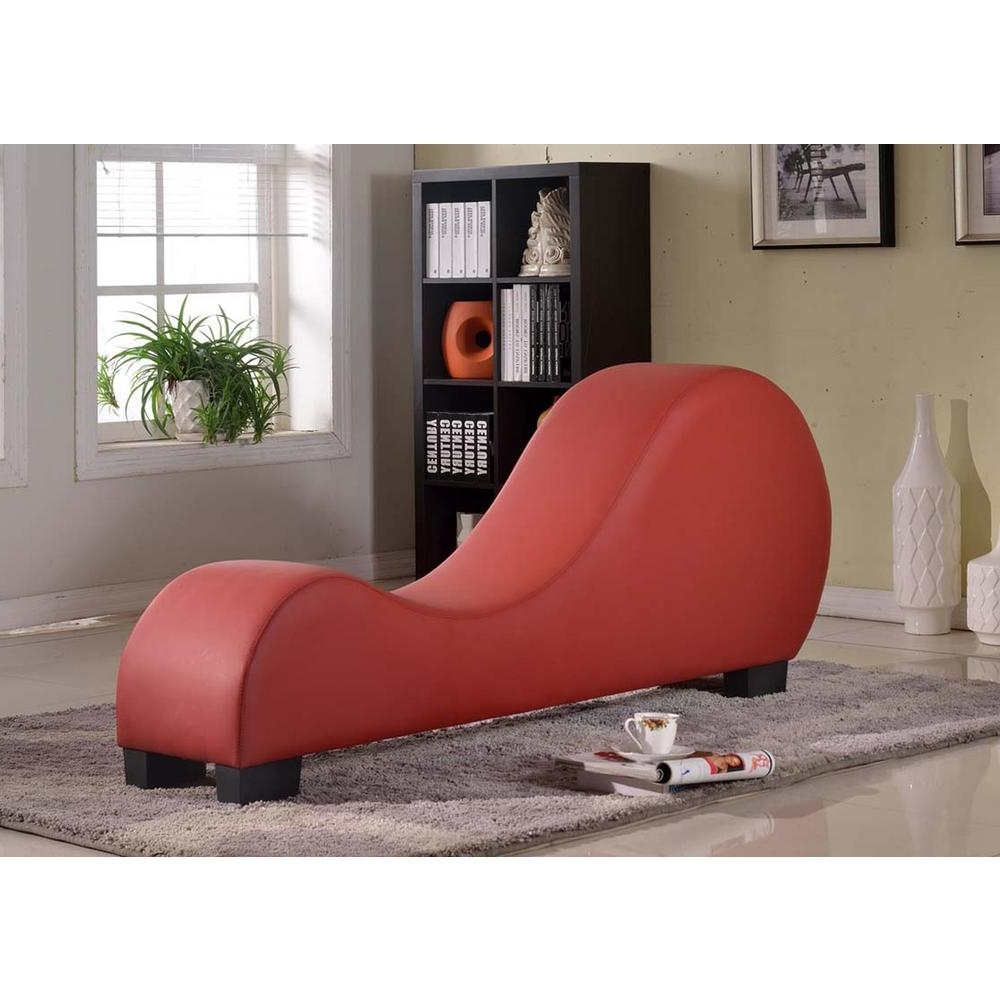 Leather Chaise Lounges With Regard To Most Popular Red Faux Leather Chaise Lounge Cl 12 – The Home Depot (View 10 of 15)