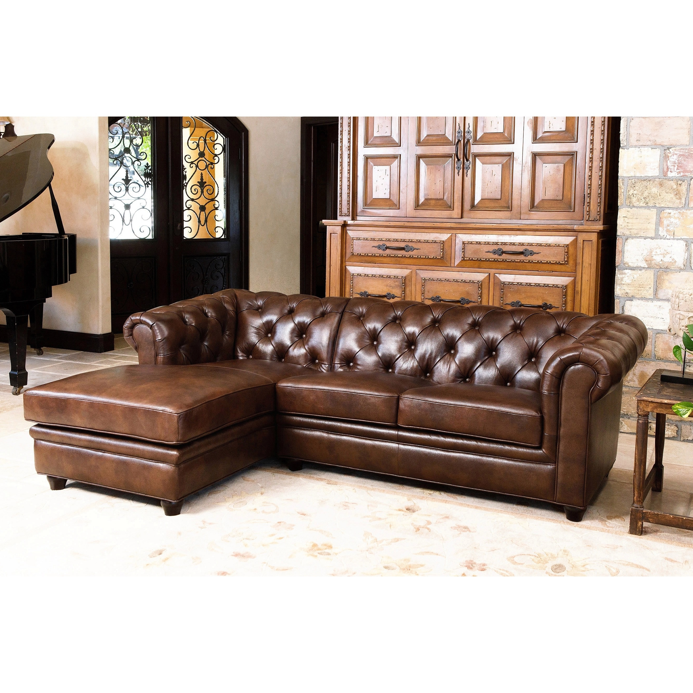Leather Chaise Sectionals With Well Known Abbyson Tuscan Tufted Top Grain Leather Chaise Sectional – Free (View 9 of 15)