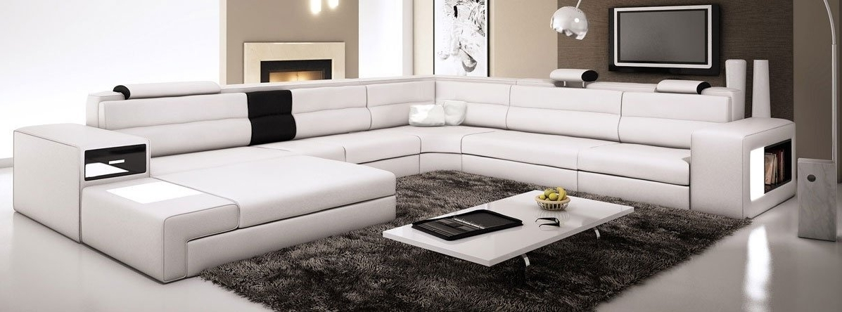 Leather Sectional Sofas Pertaining To Latest Amazon: White Contemporary Italian Leather Sectional Sofa (View 7 of 10)