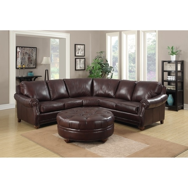 Leather Sectional Sofas With Ottoman In Fashionable Troy Chestnut Brown Italian Leather Sectional Sofa And Ottoman (View 7 of 10)