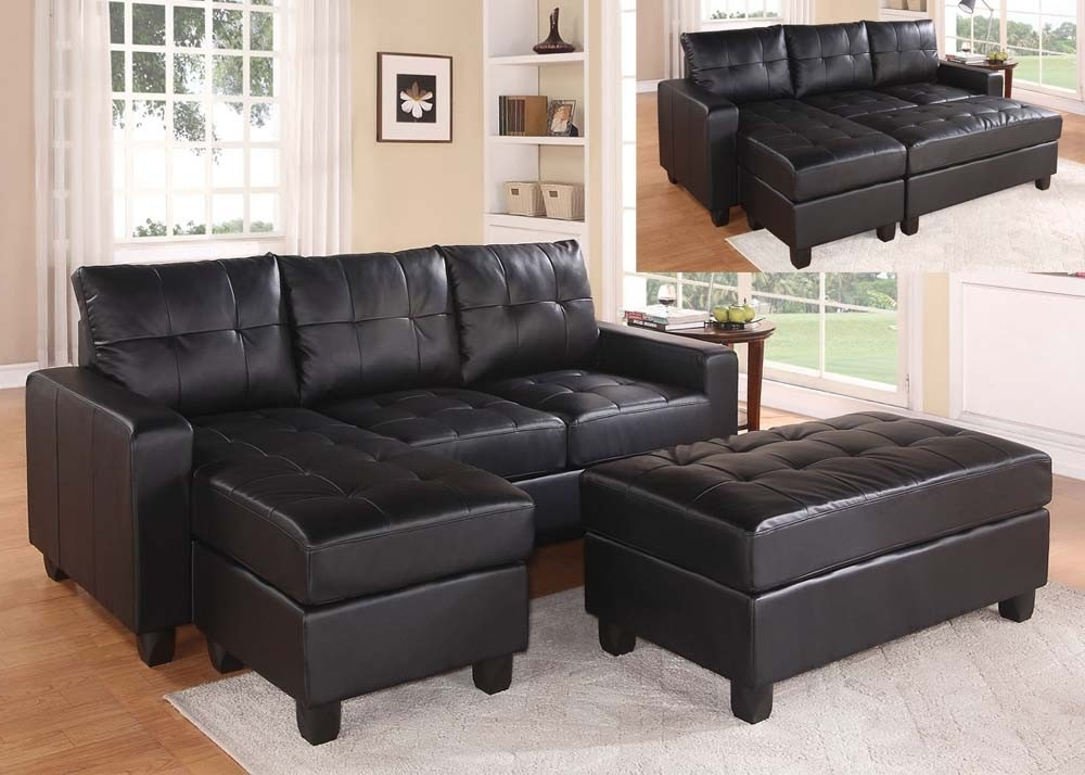 Leather Sectional Sofas With Ottoman Intended For 2017 Black Faux Leather Sectional Sofa With Reversible Chaise And (View 9 of 10)