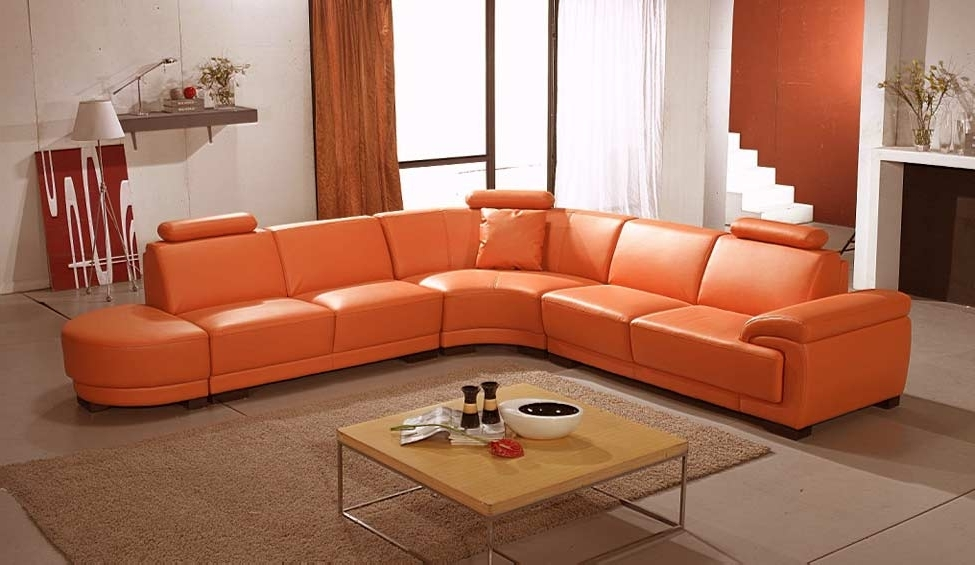 Leather Sectionals Pertaining To Current Orange Sectional Sofas (View 5 of 10)