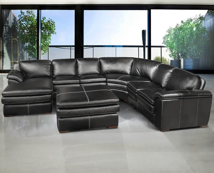 Leather Sectionals With Chaise And Ottoman In Most Recent Fabulous Black Sectional Leather Sofa Living Room Design Best U (View 6 of 10)