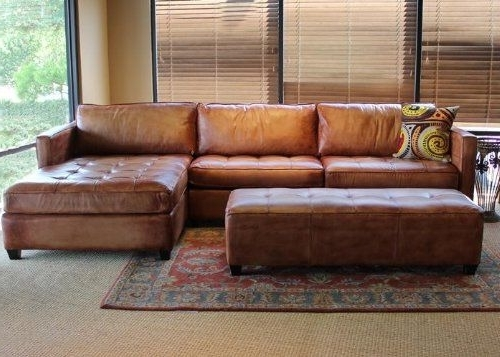 Leather Sectionals With Chaise And Ottoman With Regard To Most Current Sofa Design Ideas: Amazing Decor Leather Sectional Sofa With (View 3 of 10)