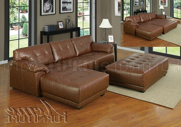 Leather Sectionals With Ottoman Within Well Liked Brown Bonded Leather Modern Sectional Couch W/optional Ottoman (View 8 of 10)