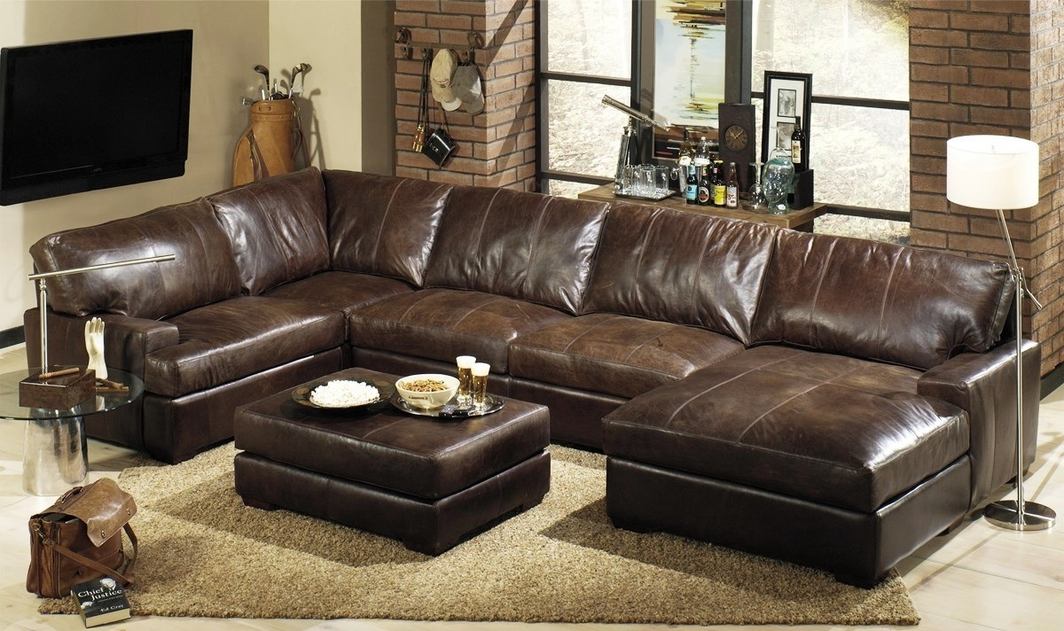 Leather Sofas With Chaise Inside Well Liked Brown Sectional Sofas Lovely L Shaped Brown Leather Sleeper Sofa (View 9 of 15)