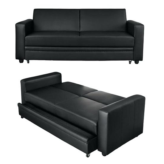 Leather Sofas With Storage Intended For Most Up To Date Wondrous Black Leather Sofa Bed Photos – Gradfly (View 6 of 10)
