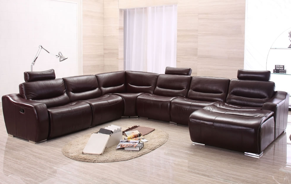 Leather U Shaped Sectional Sofa — Fabrizio Design : Fashionable U Throughout Favorite Large U Shaped Sectionals (View 6 of 10)