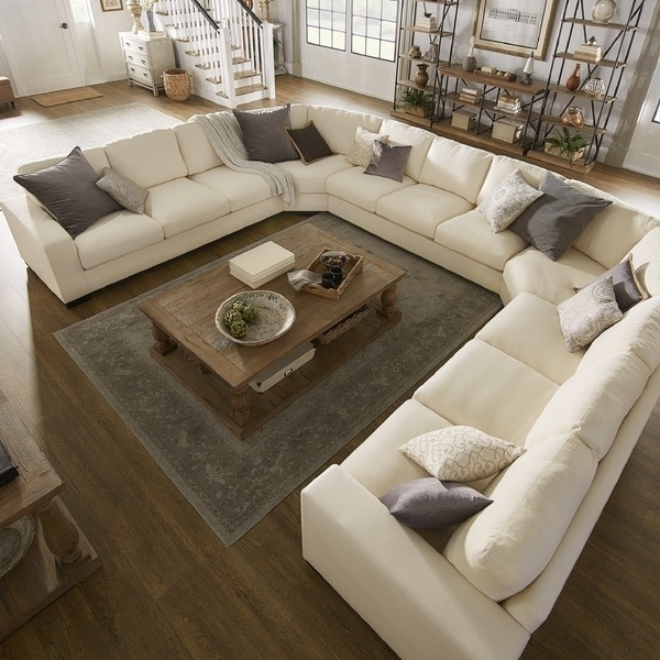 Lionel White Cotton Fabric Down Filled U Shaped Sectional Regarding Latest U Shaped Sectionals (View 5 of 10)