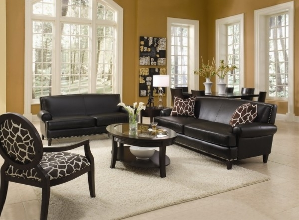 Living Room With Leather Furniture Sets And Decorative Accent For Popular Sofa And Accent Chair Sets (View 5 of 10)