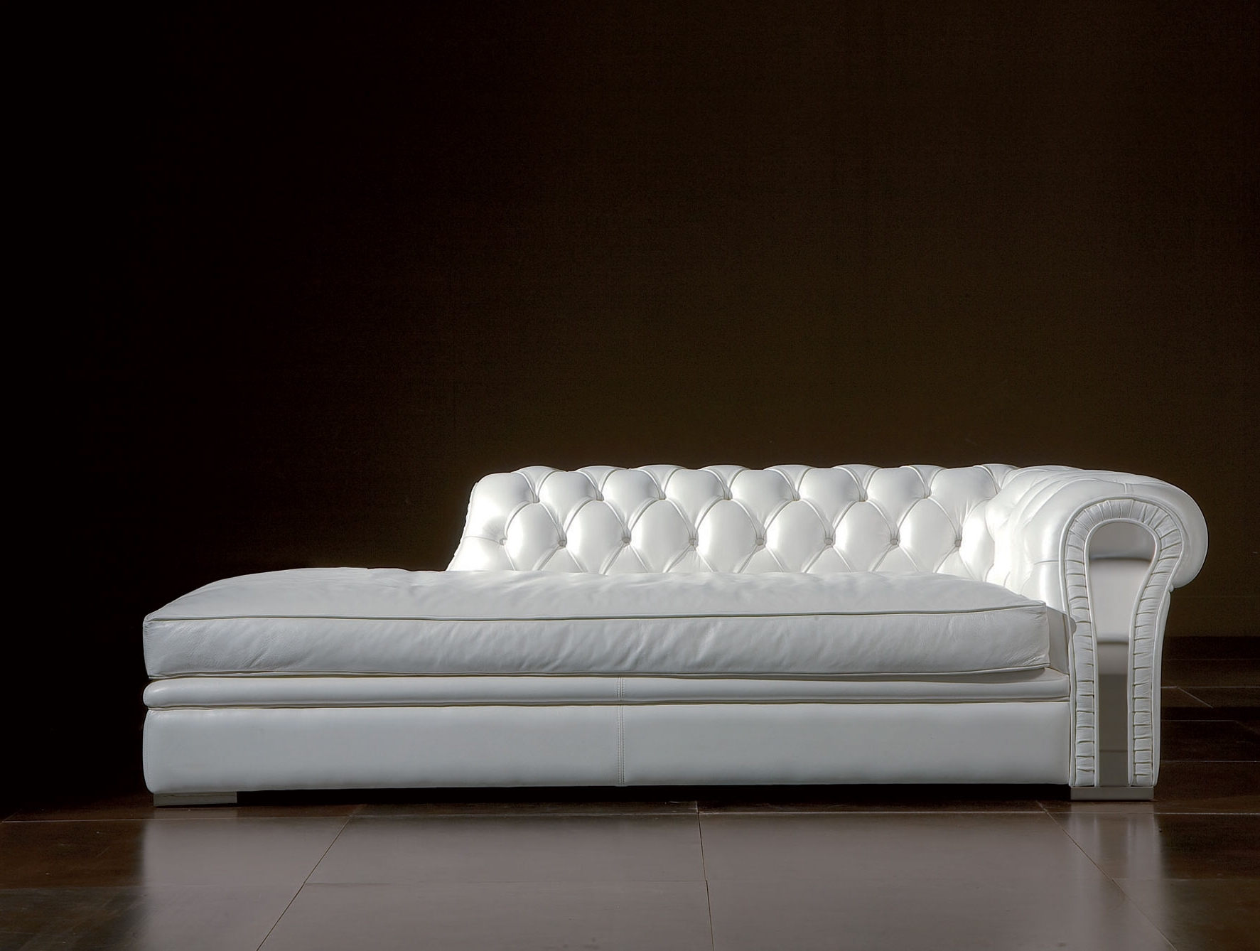 Long White Leather Sofa Chaise Lounge With Puffed Headboard Placed Regarding Popular White Leather Chaises (View 8 of 15)