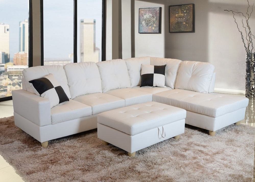 Low Profile White Faux Leather Sectional Sofa W/ Left Arm Chaise For Well Known Faux Leather Sectional Sofas (View 7 of 10)
