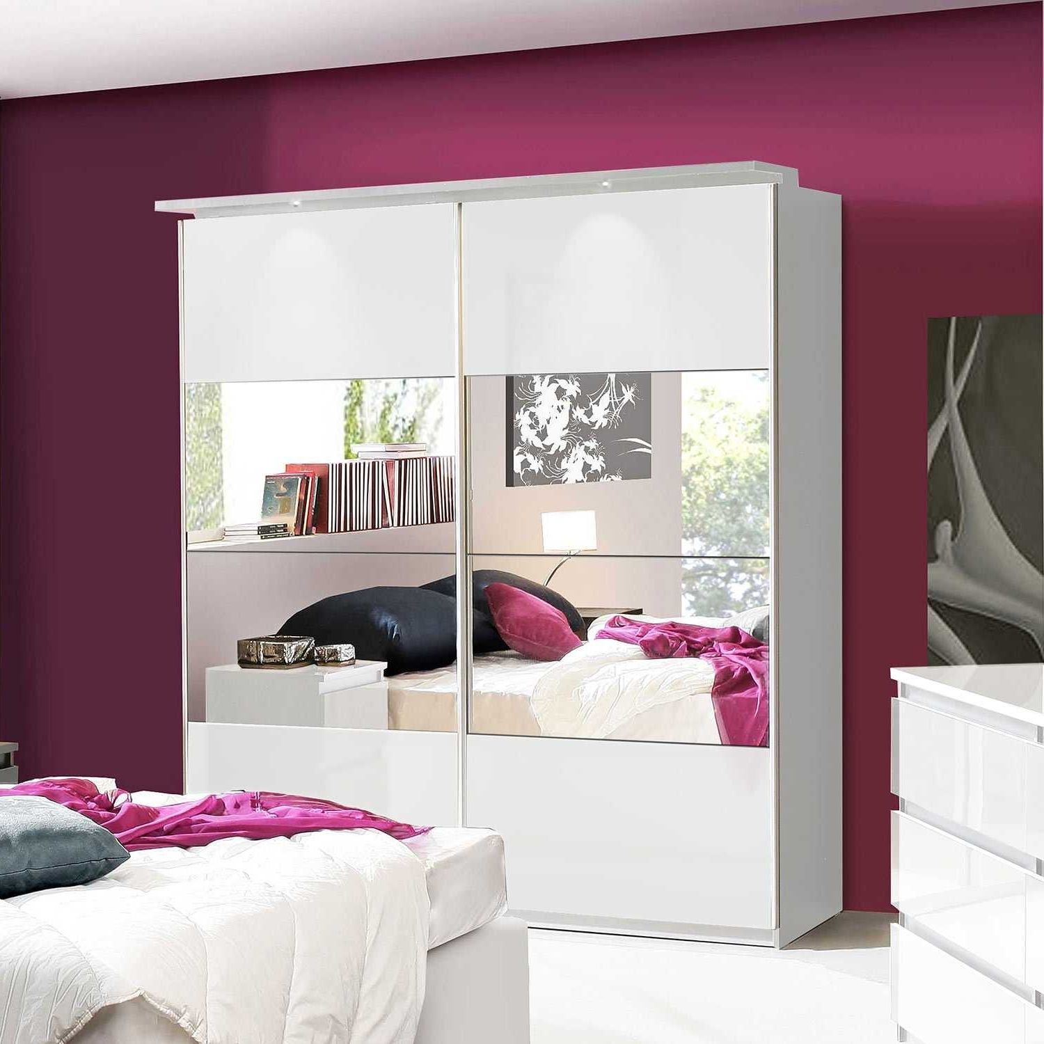 Lucia White Gloss Sliding Door Wardrobe Chls824E1C87 Regarding Famous High Gloss Sliding Wardrobes (View 10 of 15)