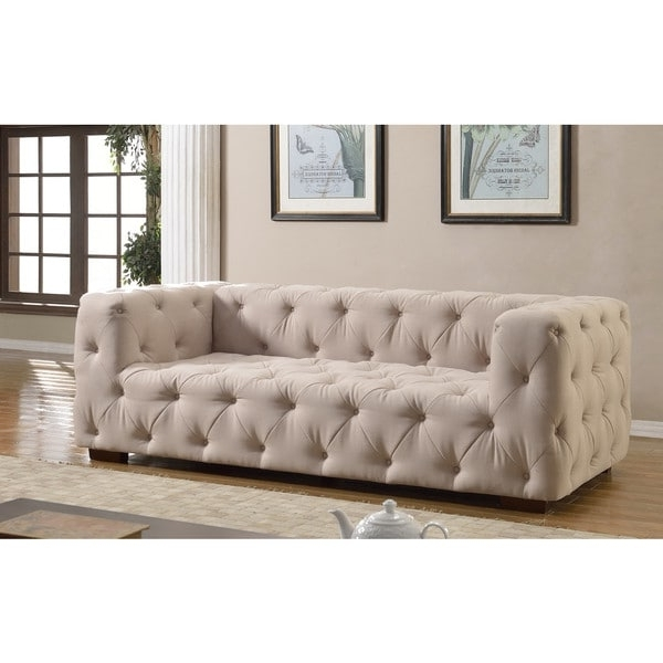 Luxurious Modern Large Tufted Linen Fabric Sofa – Free Shipping Pertaining To Well Known Tufted Linen Sofas (View 8 of 10)