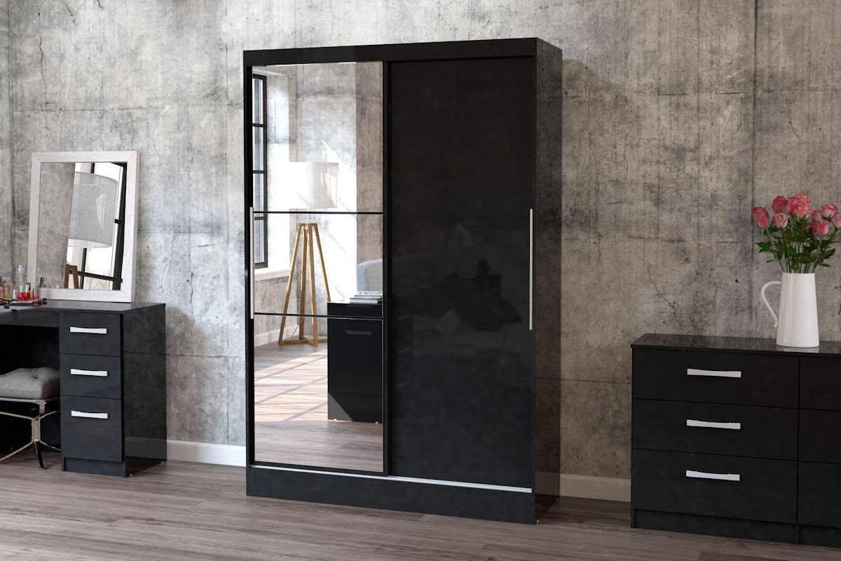 Lynx Black 2 Door Sliding Wardrobe With With Black Sliding Wardrobes (View 6 of 15)