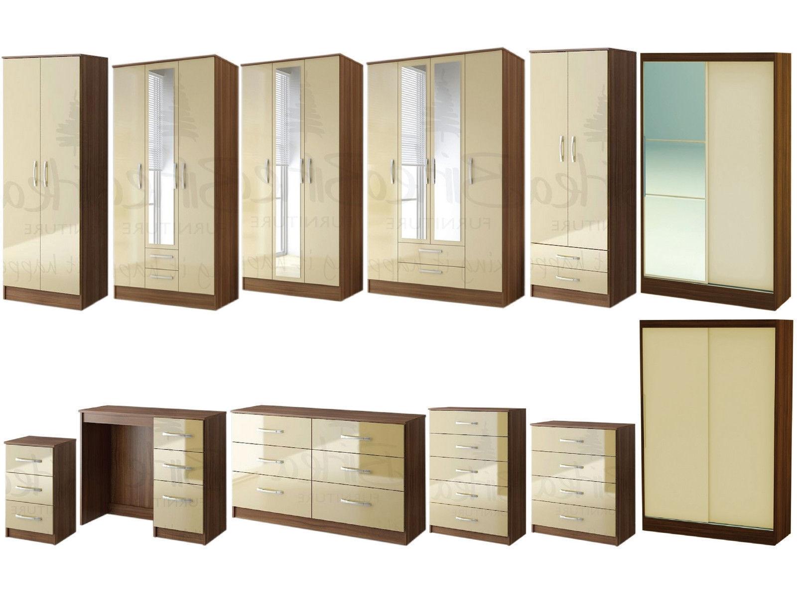 Lynx Walnut Cream Gloss Bedroom Furniture Wardrobe Chestbirlea Within Well Known Walnut Wardrobes (View 5 of 15)