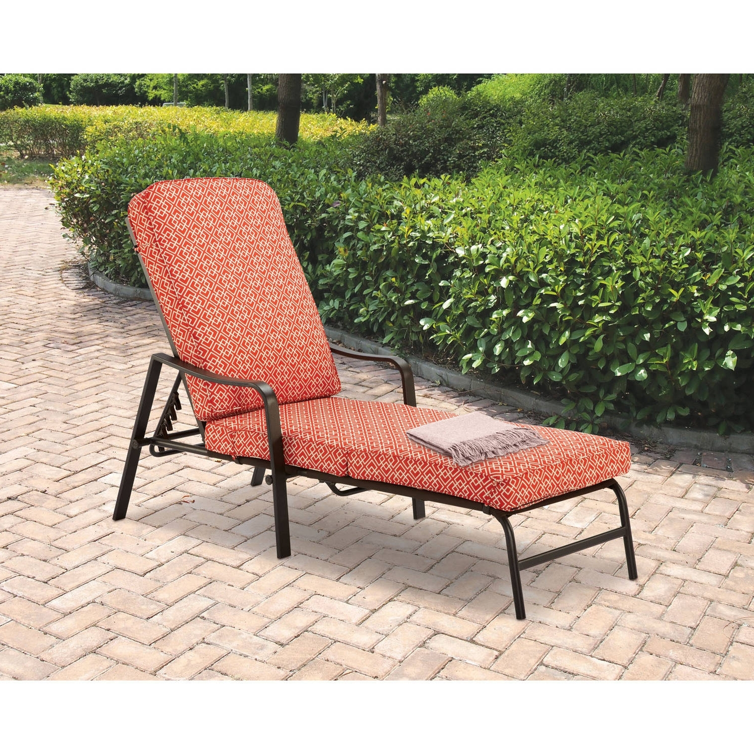 Mainstays Outdoor Chaise Lounge, Orange Geo Pattern – Walmart With 2018 Chaise Lounge Chairs With Cushions (View 10 of 15)