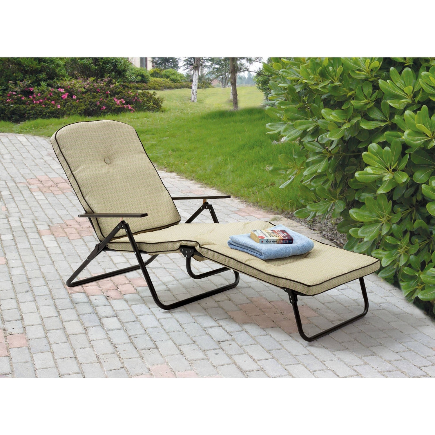 Mainstays Sand Dune Outdoor Padded Folding Chaise Lounge, Tan Intended For Most Current Folding Chaise Lounge Lawn Chairs (View 10 of 15)