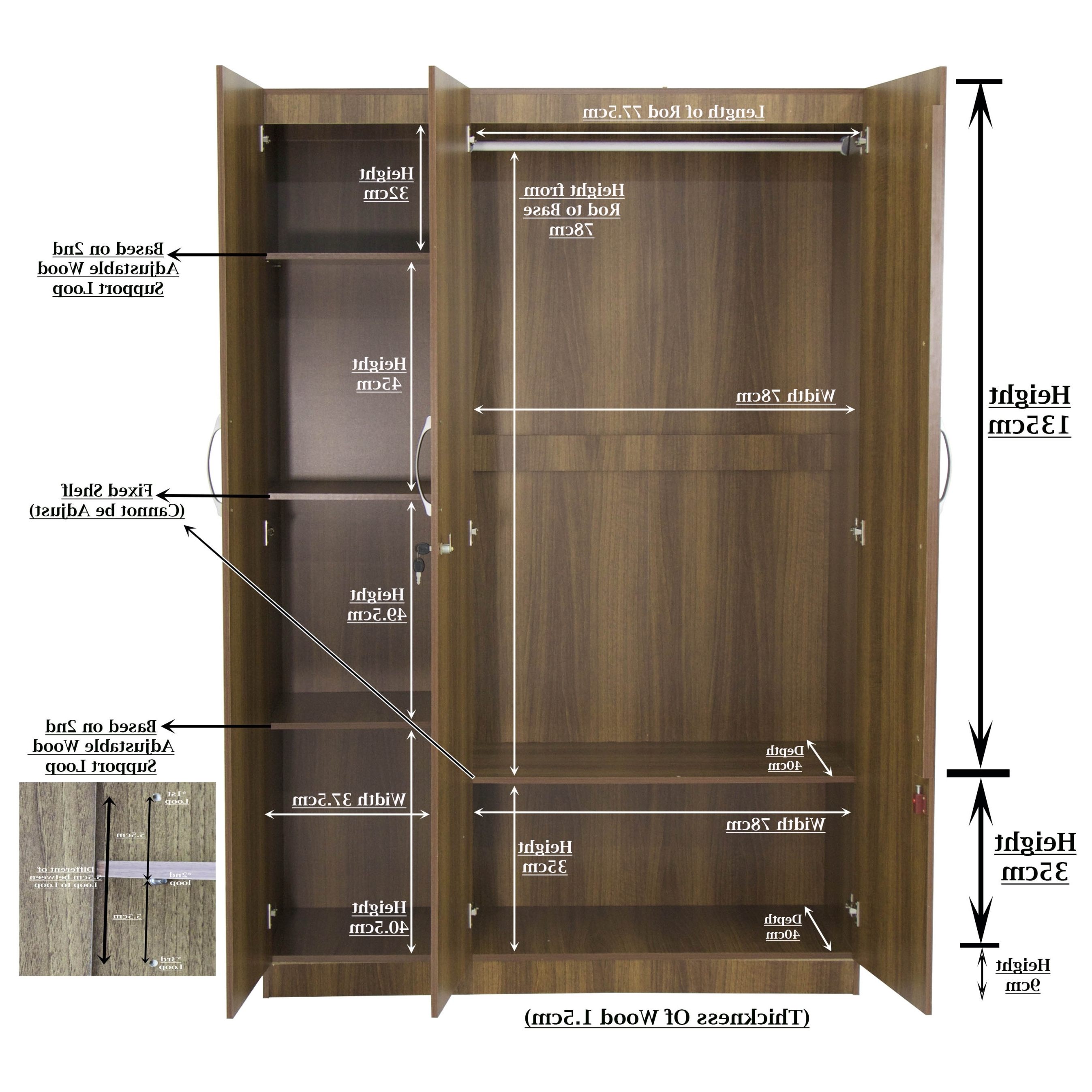 Malcom 3 Door Wardrobe In Walnut (View 12 of 15)