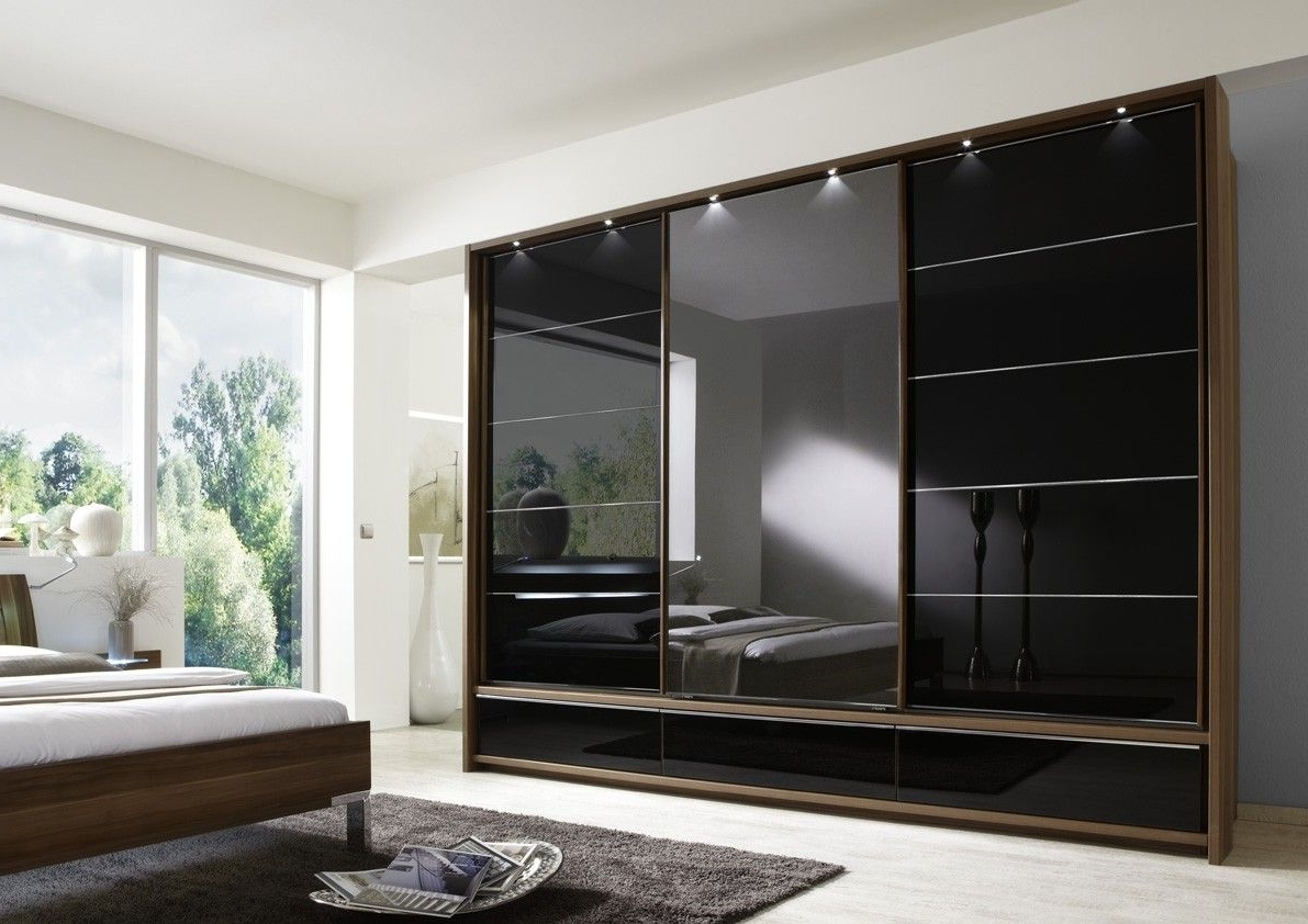 Manhattan Sliding Door Wardrobe 330Cm With Drawers Centre Mirror With Regard To Favorite 4 Door Wardrobes With Mirror And Drawers (View 10 of 15)