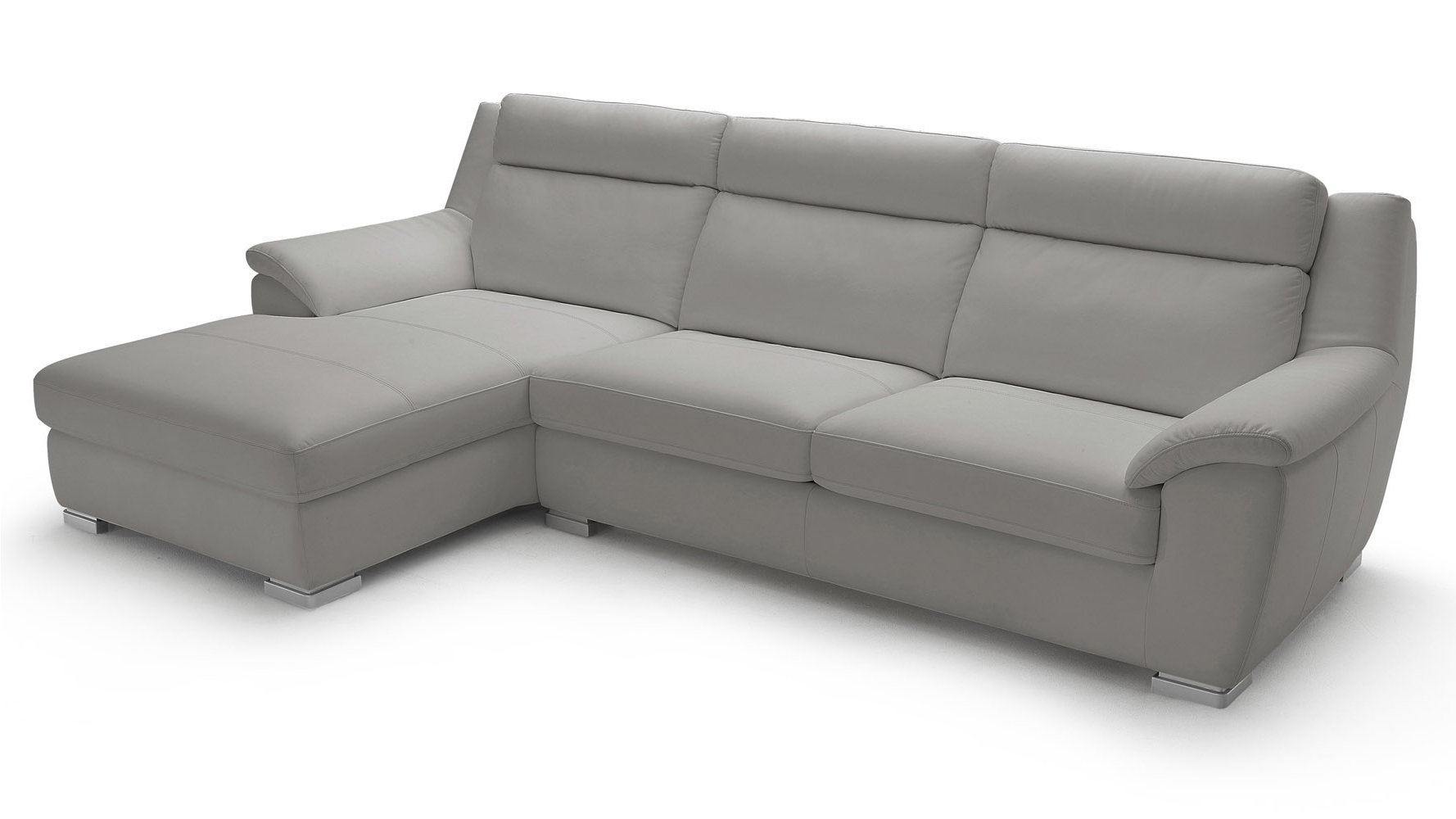 Manor Light Grey Top Grain Leather Sofa Sleeper Sectional With Throughout Well Known Sleeper Chaises (View 4 of 15)