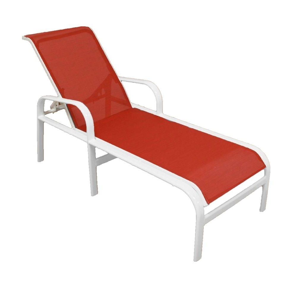 Marco Island White Commercial Grade Aluminum Patio Chaise Lounge Inside Most Popular Chaise Lounge Sling Chairs (View 9 of 15)