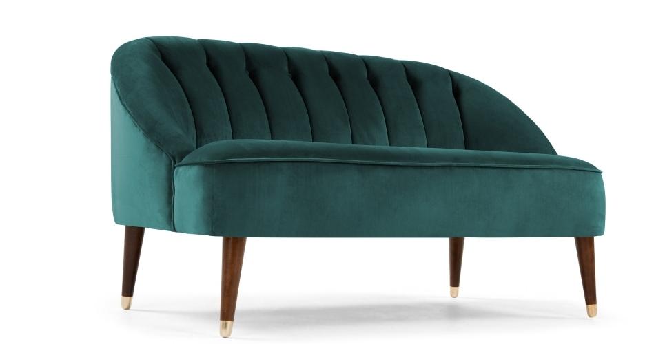 Margot 2 Seater Sofa, Peacock Blue Velvet (View 10 of 15)
