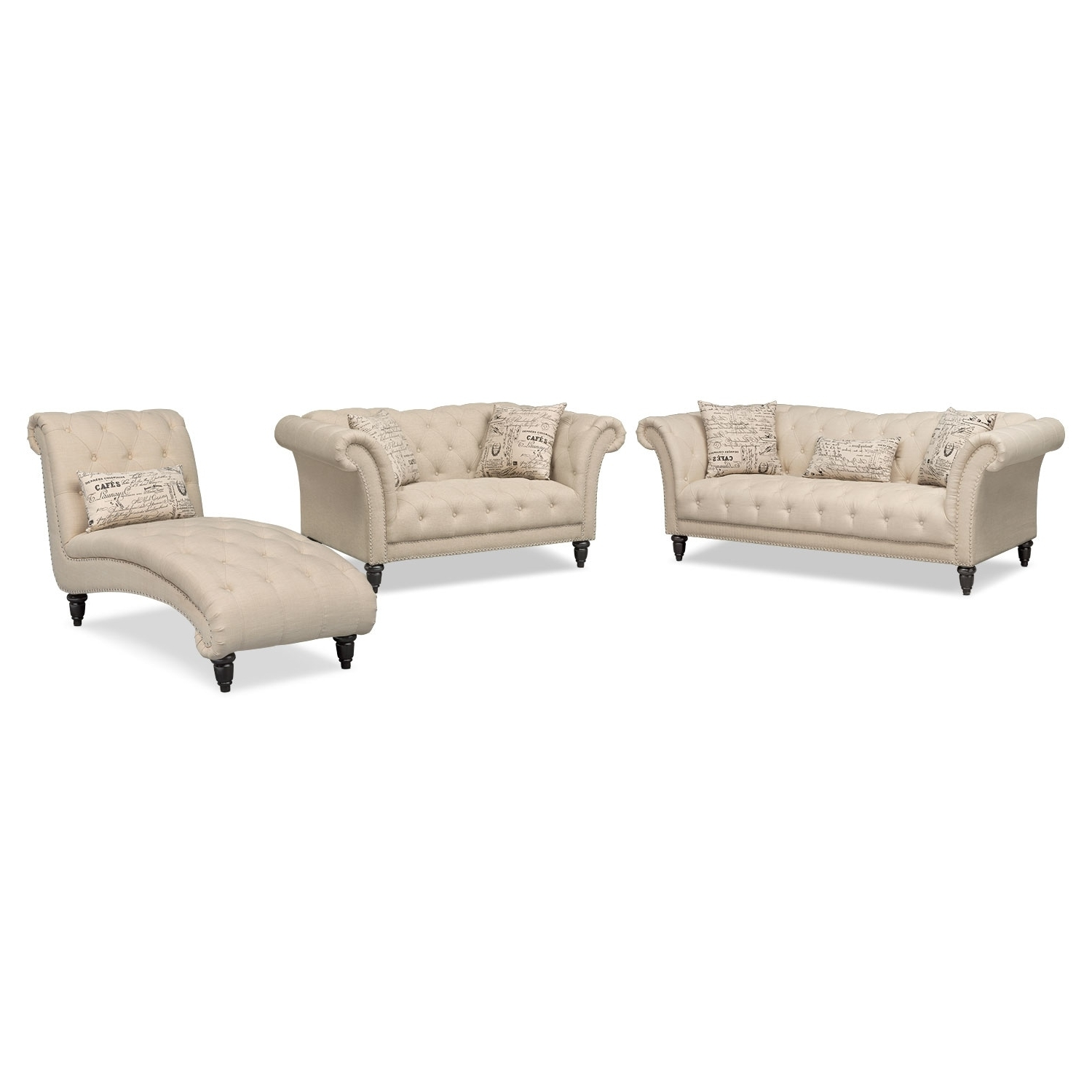 Marisol Sofa, Loveseat And Chaise Set – Beige (View 8 of 15)