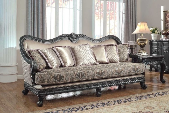 Meridian Furniture Florence 618 S Traditional Fabric Sofa Brown Throughout Favorite Florence Sofas And Loveseats (View 7 of 10)