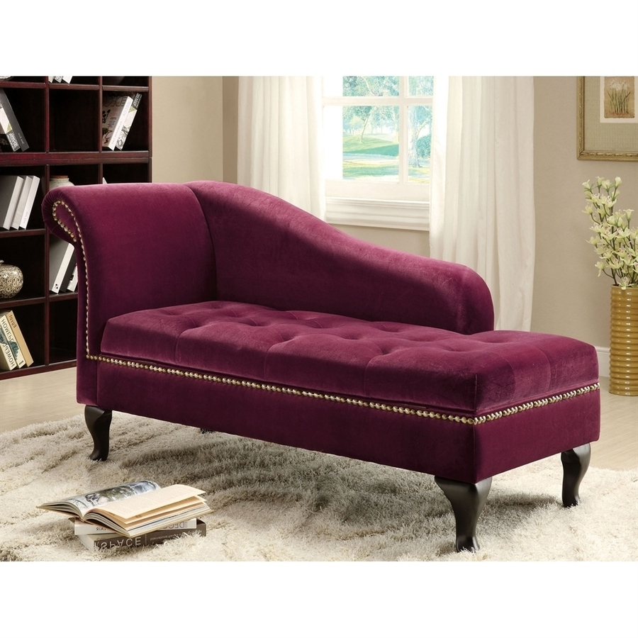 Microfiber Chaise Lounge Chairs With Regard To Most Recent Shop Furniture Of America Lakeport Glam Red Violet Microfiber (View 9 of 15)