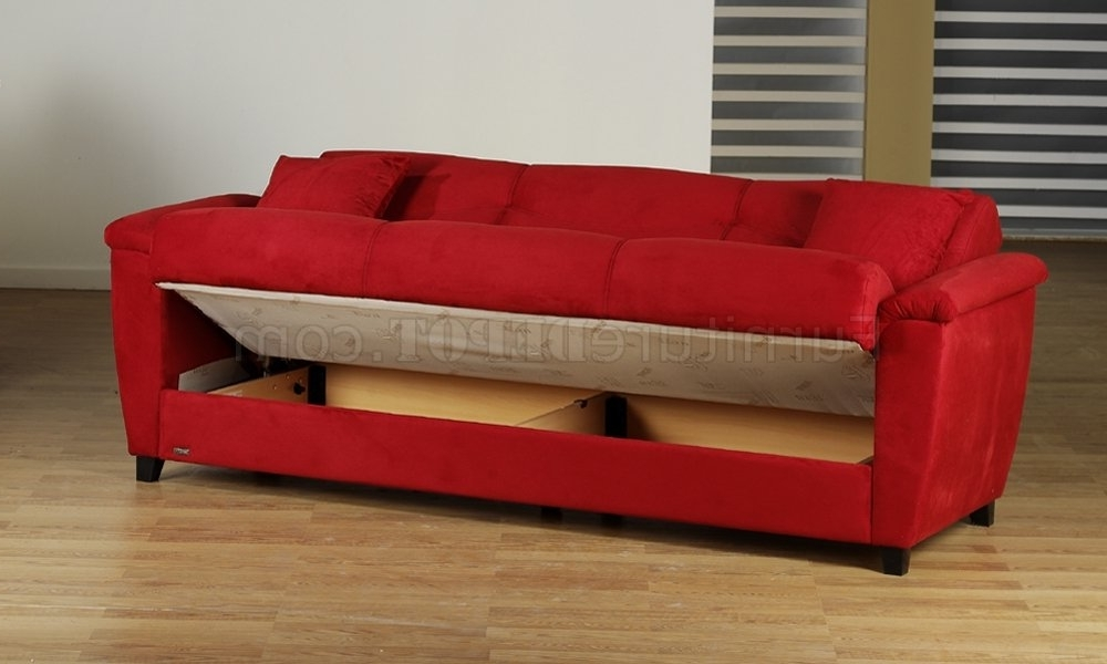 Microfiber Fabric Living Room Storage Sleeper Sofa For Most Current Red Sleeper Sofas (View 3 of 10)
