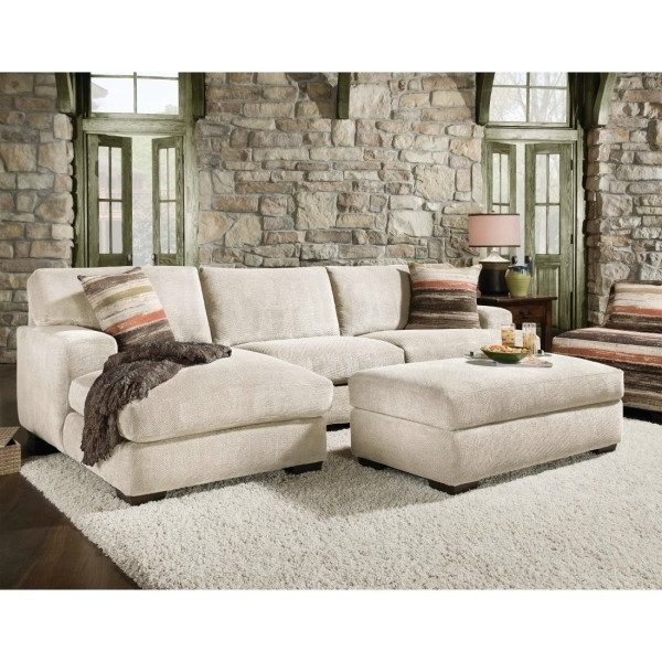 Microfiber Sectional Sofa Bed With Sleeper And Chaise Meadcream Regarding Current Sectionals With Chaise And Ottoman (View 2 of 10)