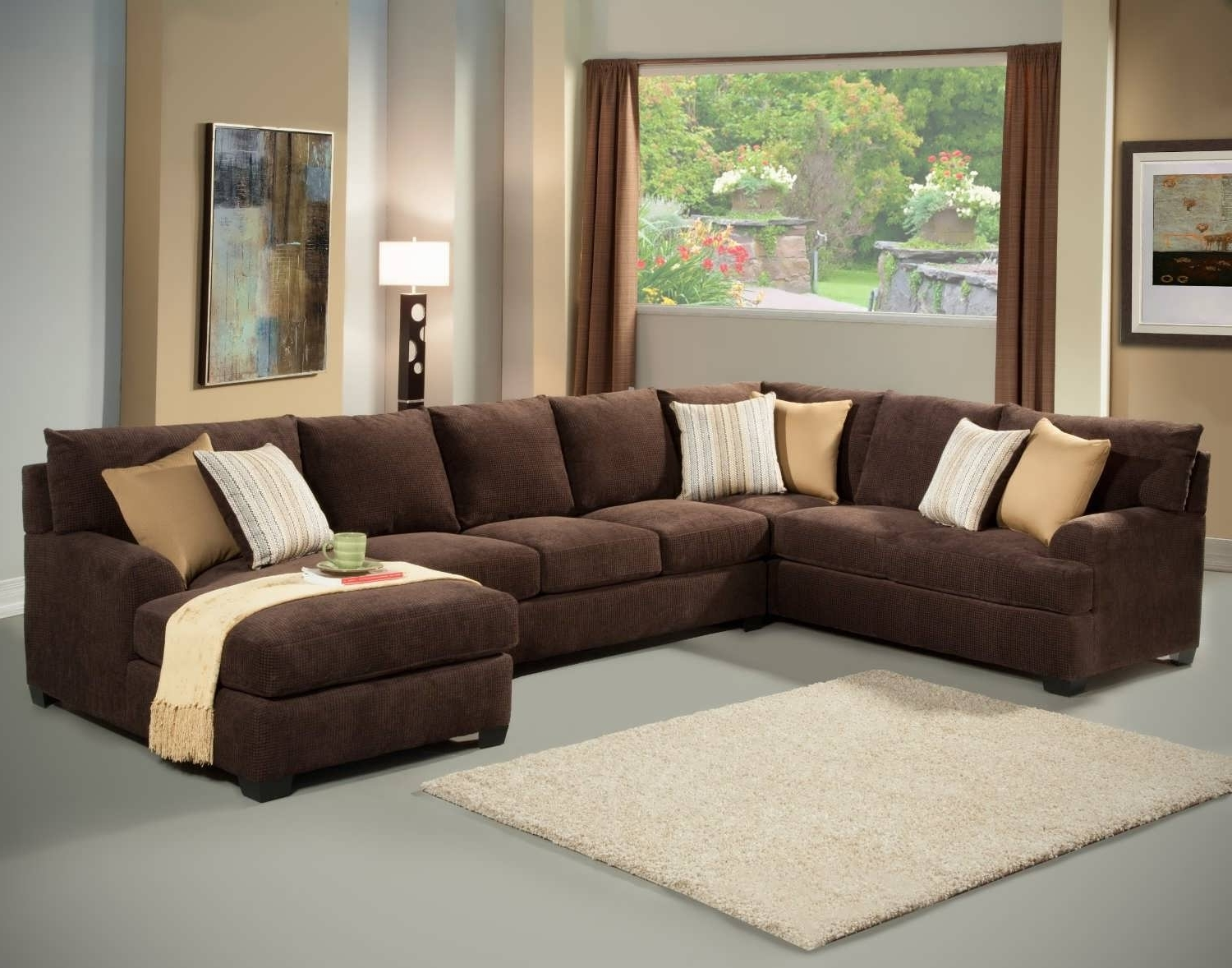 Microfiber Sectional Sofas With Chaise Pertaining To Most Recent Sofa : Grey Sectional Sofa Brown Sectional Couch Sectional Couches (View 11 of 15)