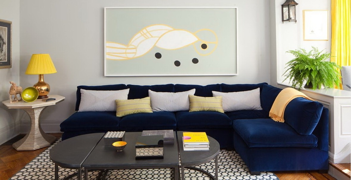 Minimalist Living Room Design With Dark Blue Pertaining To Dark Blue Sofas (View 5 of 10)
