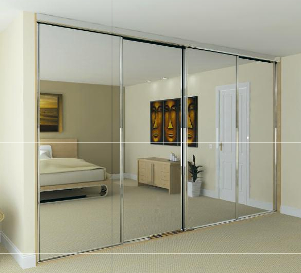 Mirror Design Ideas: Cool Sliding Mirror Door Wardrobes Bedroom For Most Recent Double Wardrobes With Mirror (View 11 of 15)