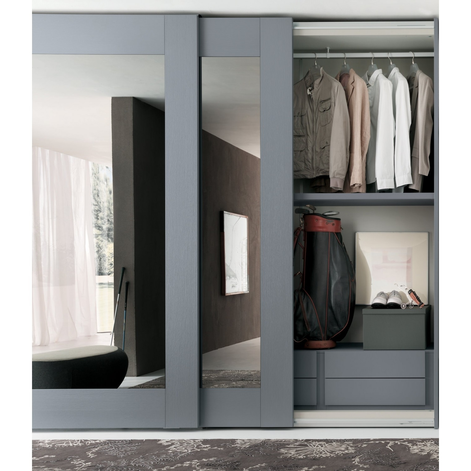 Mirror Sliding Wardrobe Of Player Collection With White Glossy Intended For 2017 Oak Mirrored Wardrobes (View 9 of 15)