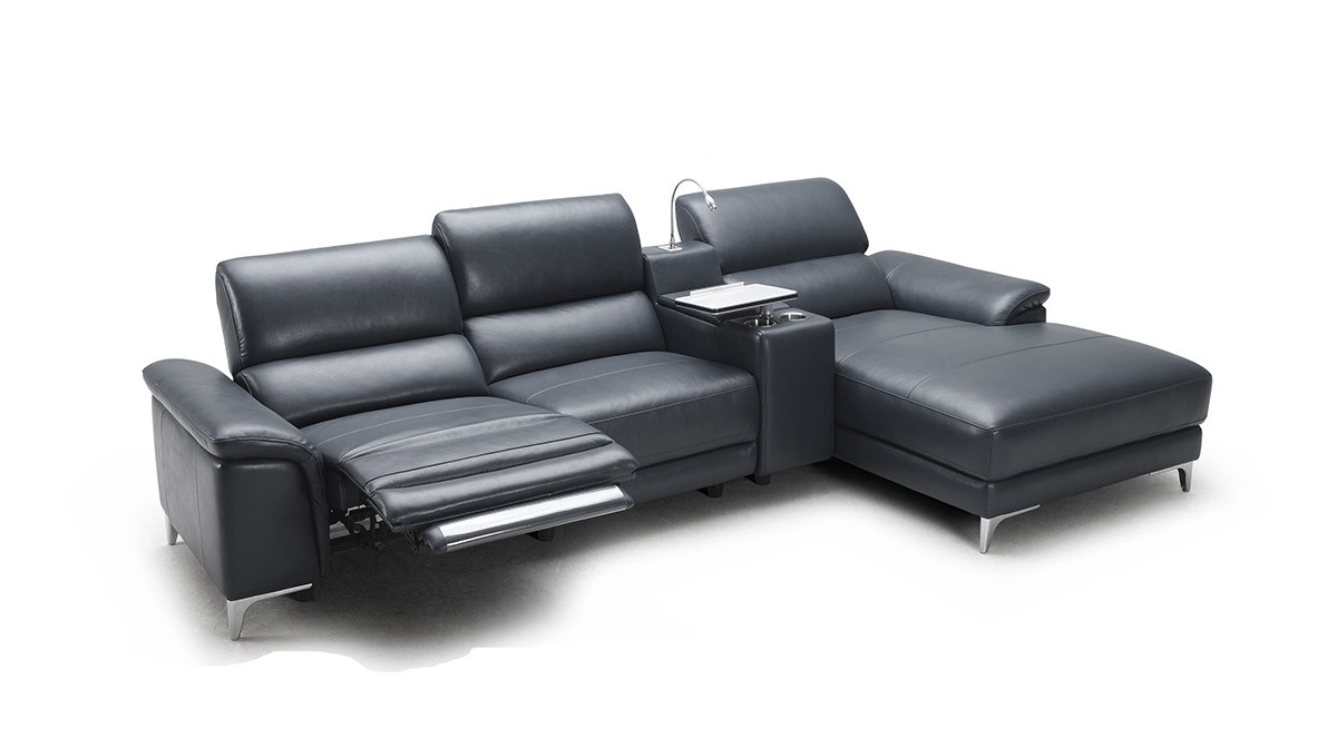 Modern Full Leather Sectional Sofa W/ Recliner With Current Chaise Lounge Recliners (View 10 of 15)