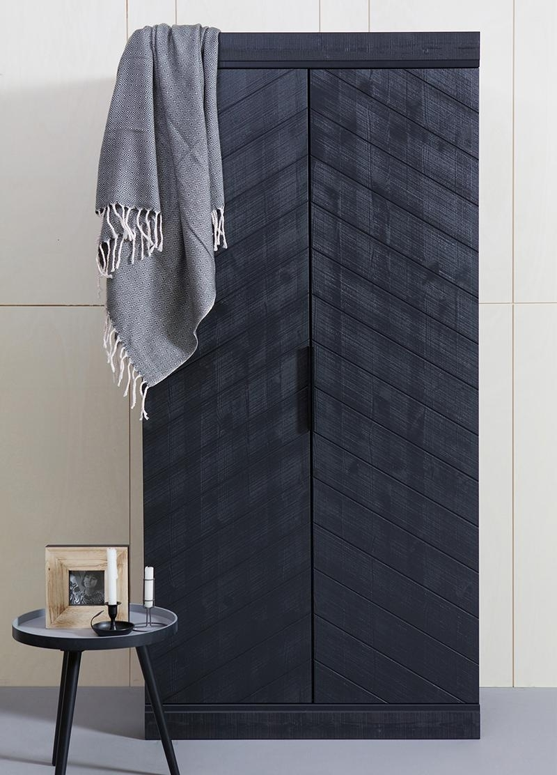 Modern Industrial Style Black Wardrobe In Solid Wood For Most Recent Industrial Style Wardrobes (View 3 of 15)