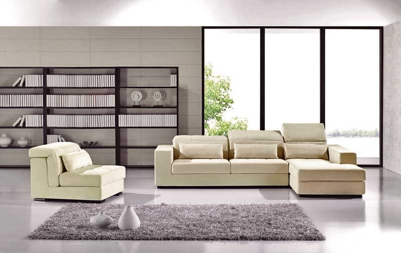 Modern Microfiber Sectional Sofas Regarding Fashionable Contemporary Sectional Sofa Ae (View 5 of 10)