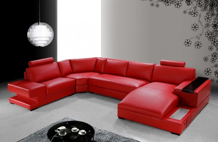 Modern Red Leather Sectional Sofa For Most Recently Released Red Leather Sofas (View 4 of 10)