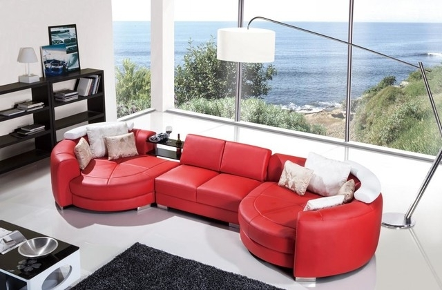 Modern Red Leather Sectional Sofa With Chaise – Modern – Living Pertaining To Current Red Leather Sectionals With Chaise (View 7 of 10)