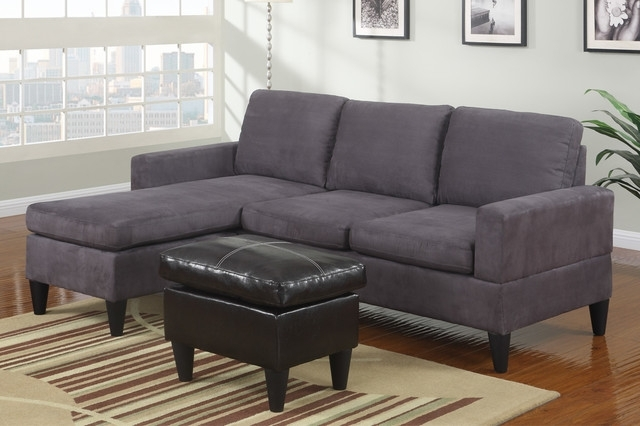 Modern Small Sectional Sofa Modern Small Gray Microfiber Sectional Throughout Well Liked Small Sectional Sofas With Chaise And Ottoman (View 4 of 10)