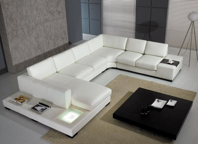 Modern U Shaped Sectionals With Current Modern U Shape Sectional Sofa In White Bonded Leather – Modern (View 6 of 10)