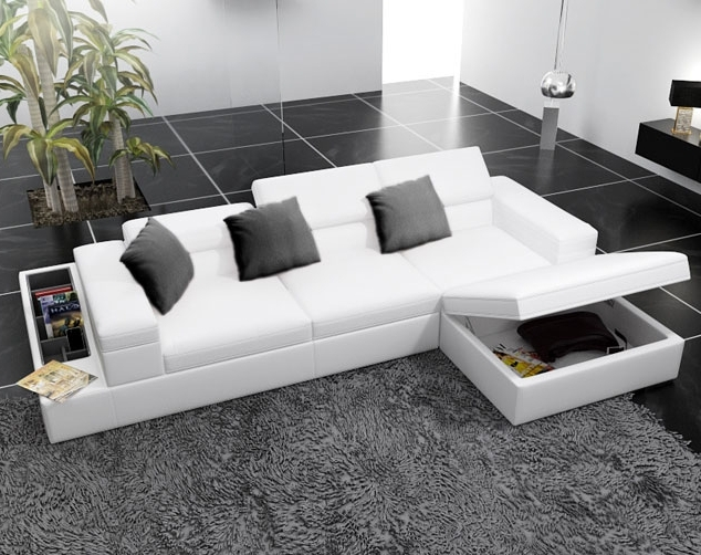 Modern White Leather Corner Sofas With Underneath Storage – Google Intended For Famous Sectional Sofas With Storage (View 5 of 10)