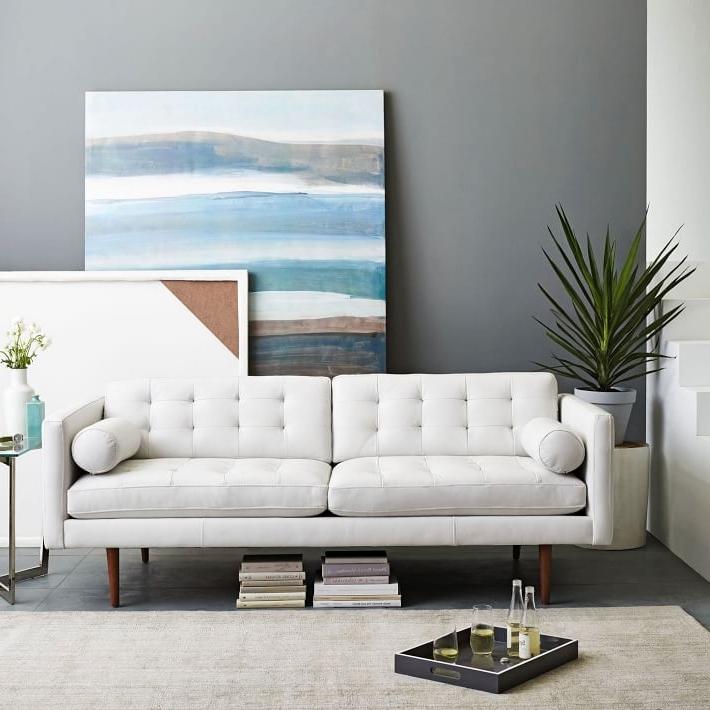 "Monroe Mid Century Leather Sofa (80"") (View 9 of 10)"